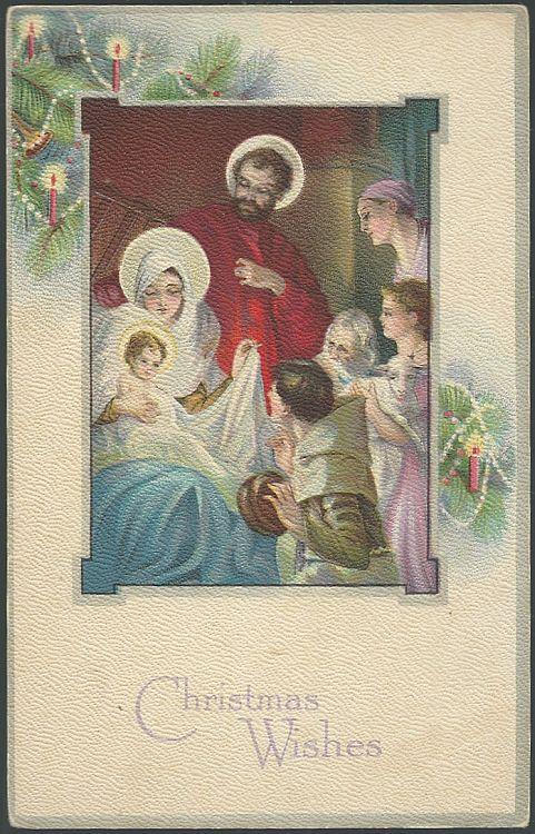 RELIGIOUS CHRISTMAS WISHES POSTCARD WITH MARY, JOSEPH, AND BABY JESUS, Postcard