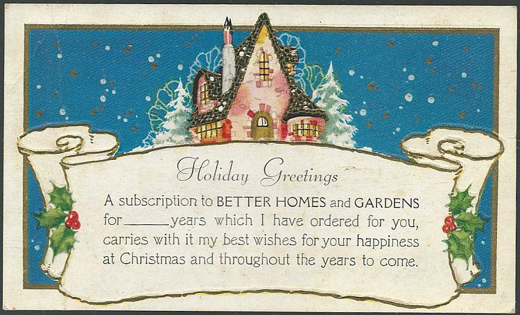 HOLIDAY GREETINGS SUBSCRIPTION CARD FROM BETTER HOMES AND GARDENS, Postcard