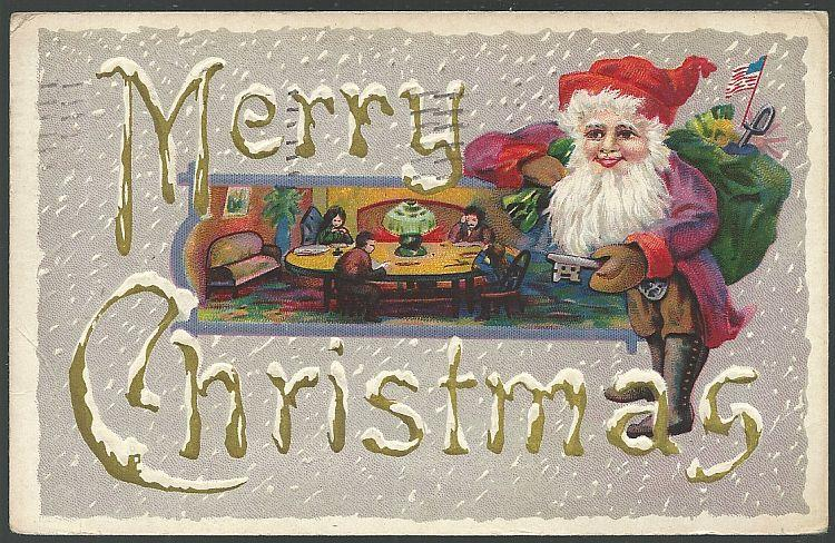 MERRY CHRISTMAS POSTCARD WITH SANTA CLAUS AND FAMILY AT TABLE READING, Postcard