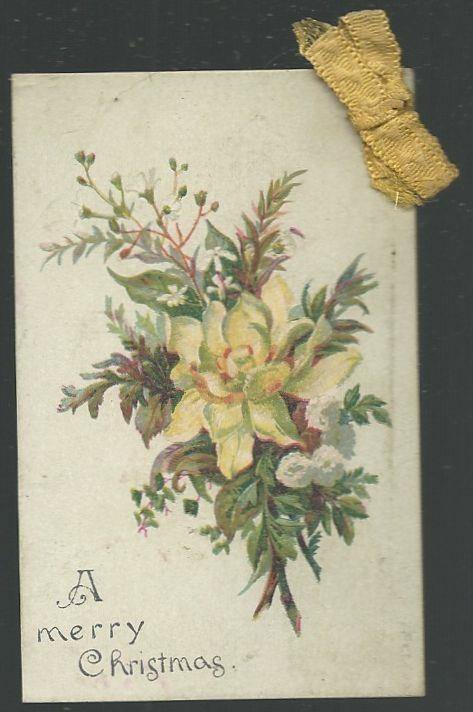 VICTORIAN MERRY CHRISTMAS CARD WITH YELLOW FLOWER AND YELLOW RIBBON, Christmas