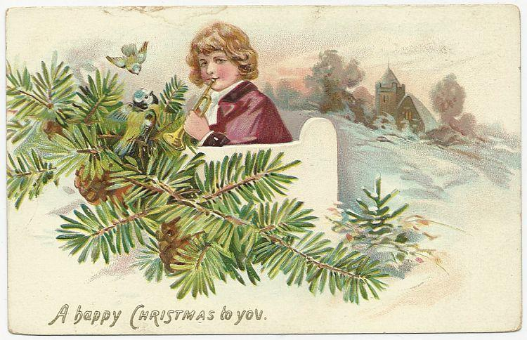 HAPPY CHRISTMAS POSTCARD WITH BOY AND HORN, Postcard