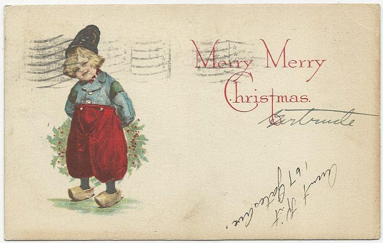 MERRY CHRISTMAS POSTCARD WITH DUTCH BOY, Postcard