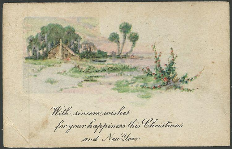 CHRISTMAS AND NEW YEAR POSTCARD WITH LANDSCAPE, Postcard
