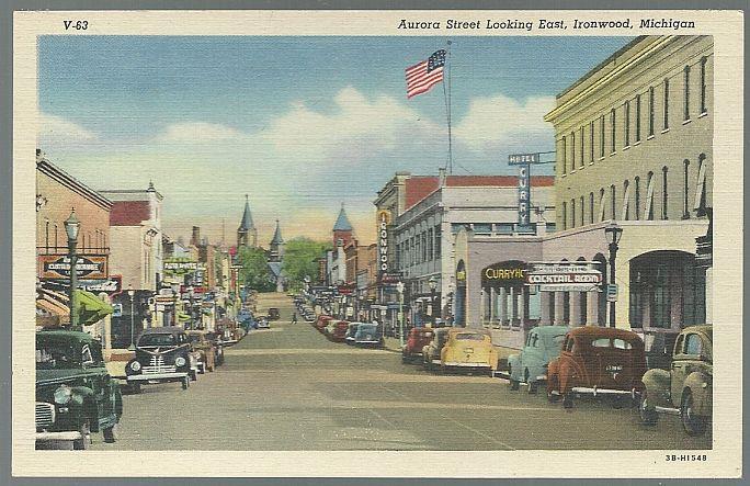 AURORA STREET LOOKING EAST, IRONWOOD, MICHIGAN, Postcard