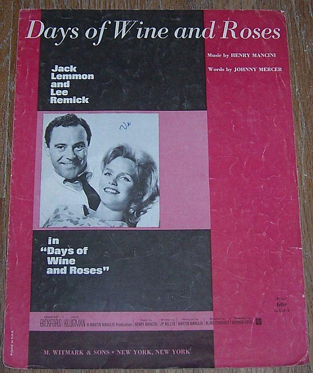 SHEET MUSIC - Days of Wine and Roses