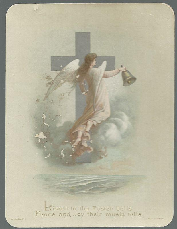 Image for VICTORIAN EASTER CARD WITH SILVER CROSS AND ANGEL