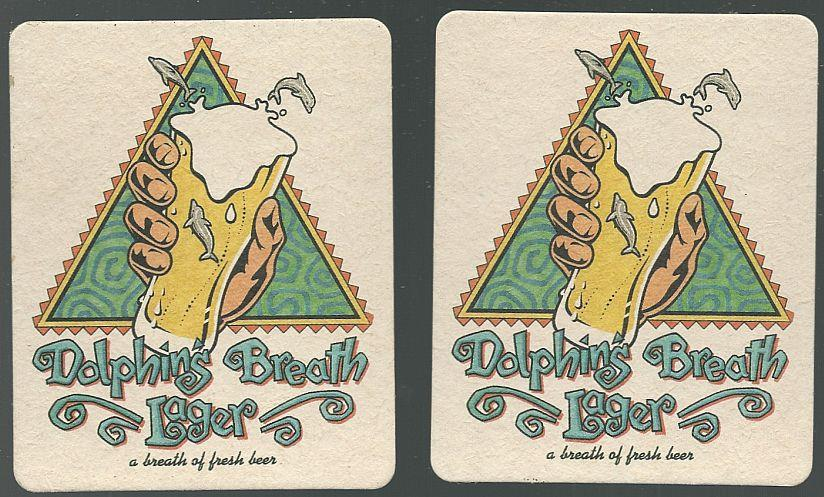 Image for SET OF TWO DOLPHIN'S BREATH LAGER BEER MATS/COASTERS