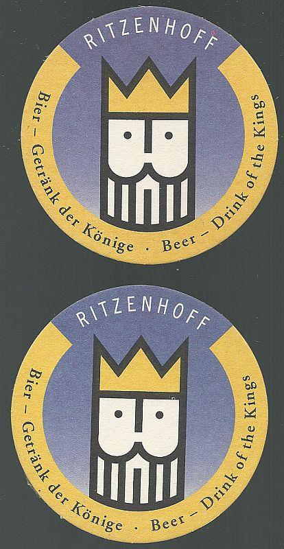 Image for SET OF TWO RITZENHOFF BY MICHAEL SIEGER BEER MATS/COASTERS