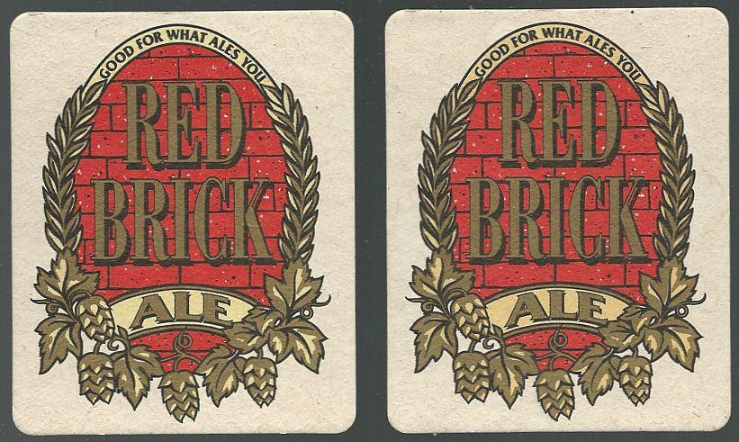 Image for SET OF TWO RED BRICK ALE BEER MATS/COASTERS