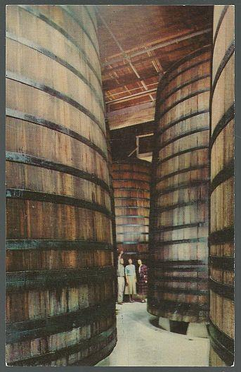 REDWOOD STORAGE TANKS IN CELLARS OF THE ITALIAN SWISS COLONY WINERY, Postcard