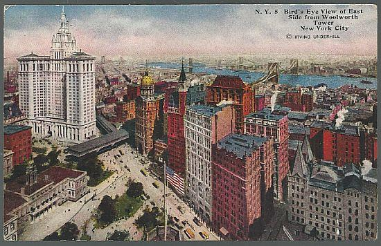 BIRD'S EYE VIEW OF EAST SIDE FROM WOOLWORTH TOWER, NEW YORK CITY, NEW YORK, Postcard