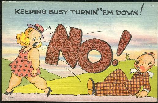 Image for COMIC POSTCARD OF BUSY LADY TURNING 'EM DOWN