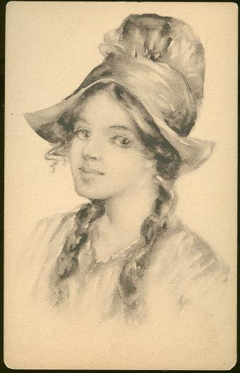 LOVELY LADY WITH HAT AND BRAIDS, Postcard