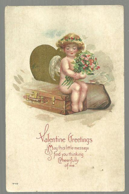 VALENTINE POSTCARD CUPID HOLDING BOUQUET OF FLOWERS SITTING ON SUITCASE, Postcard