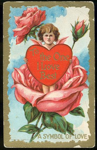 VALENTINE POSTCARD CUPID HOLDING HEART TO THE ONE I LOVE BEST, Postcard
