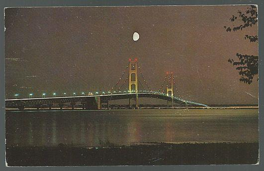 MACKINAC BRIDGE AT NIGHT, MICHIGAN, Postcard