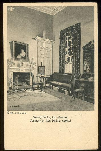 FAMILY PARLOR, LEE MANSION FROM A PAINTING BY RUTH PERKINS SAFFORD, Postcard
