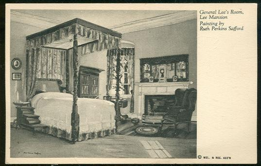 LEE BEDROOM, LEE MANSION FROM A PAINTING BY RUTH PERKINS SAFFORD, Postcard