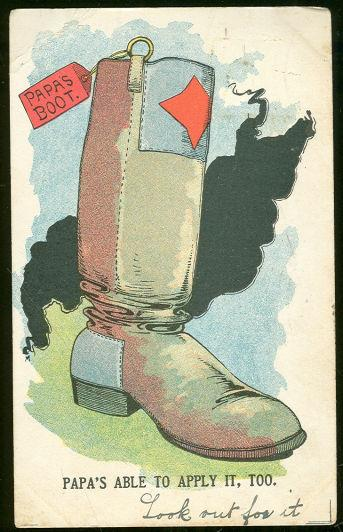 Image for UNDIVIDED COMIC POSTCARD OF PAPA'S BOOT