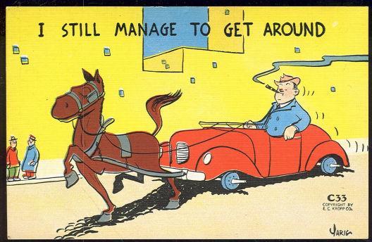 COMIC YARIG POSTCARD OF MAN IN A HORSE DRAWN CAR, Postcard