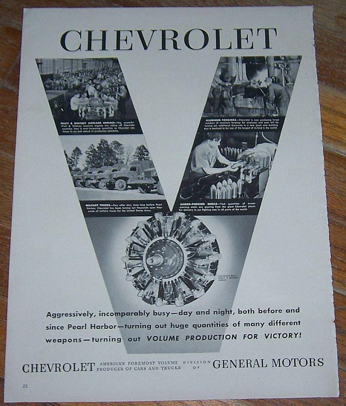 1942 CHEVROLET WORLD WAR II LIFE MAGAZINE ADVERTISMENT, Advertisement