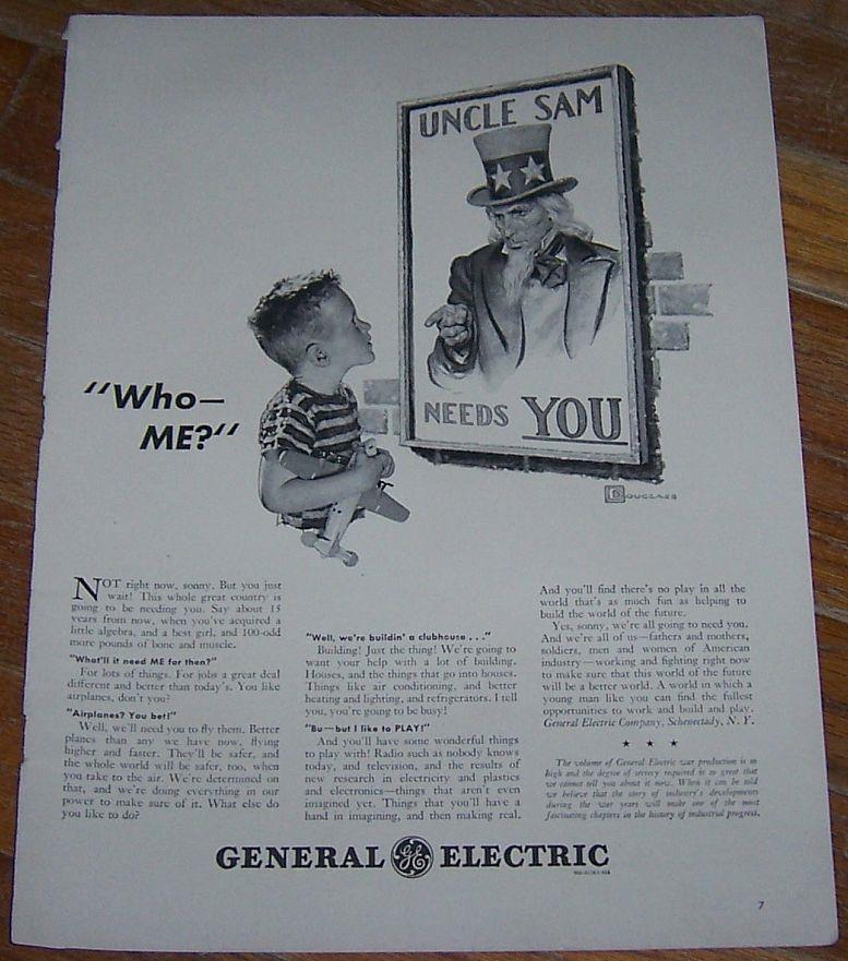 1942 GENERAL ELECTRIC WORLD WAR II LIFE MAGAZINE ADVERTISMENT, Advertisement