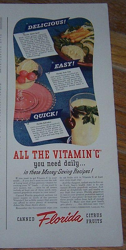 1942 CANNED FLORIDA CITRUS FRUITS WORLD WAR II LIFE MAGAZINE COLOR ADVERTISMENT, Advertisement