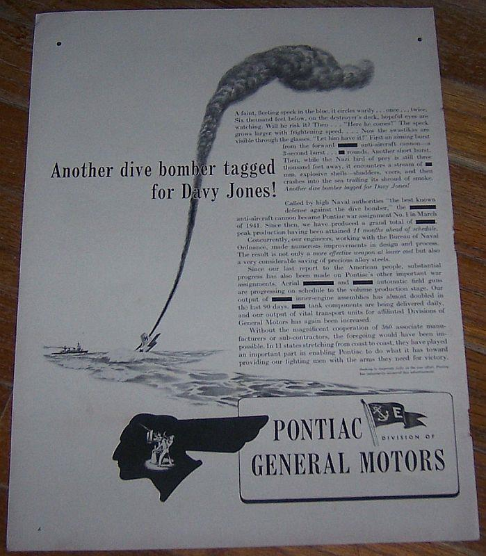 1942 PONTIAC WORLD WAR II LIFE MAGAZINE ADVERTISMENT, Advertisement