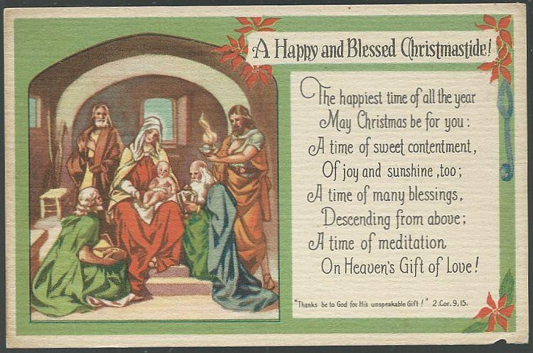 RELIGIOUS BLESSED CHRISTMASTIDE POSTCARD WITH MARY, JOSEPH, BABY JESUS AND THREE WISE MEN, Postcard