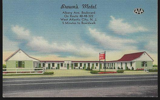 BROWN'S MOTEL, WEST ATLANTIC CITY, NEW JERSEY, Postcard