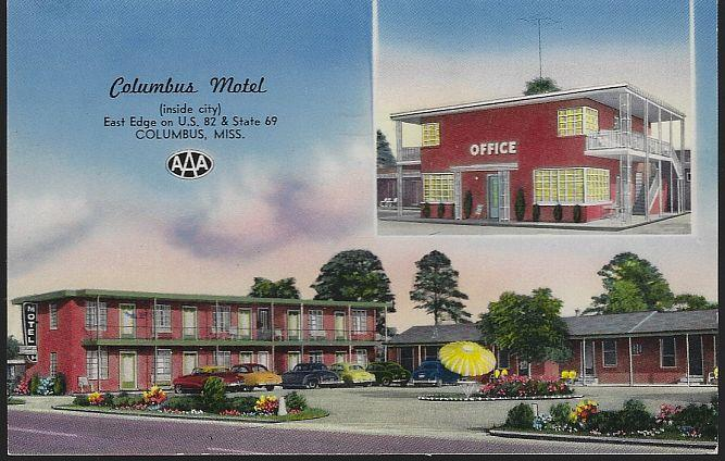 COLUMBUS MOTEL, COLUMBUS, MISSISSIPPI, Postcard