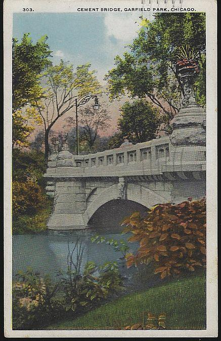 CEMENT BRIDGE, GARFIELD PARK, CHICAGO, ILLINOIS, Postcard