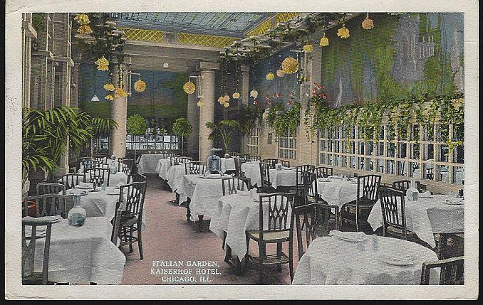 ITALIAN GARDEN, KAISERHOF HOTEL, CHICAGO, ILLINOIS, Postcard