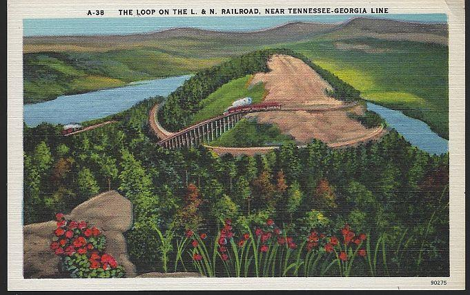 LOOP ON THE L & N RAILROAD NEAR TENNESSEE-GEORGIA LINE, Postcard