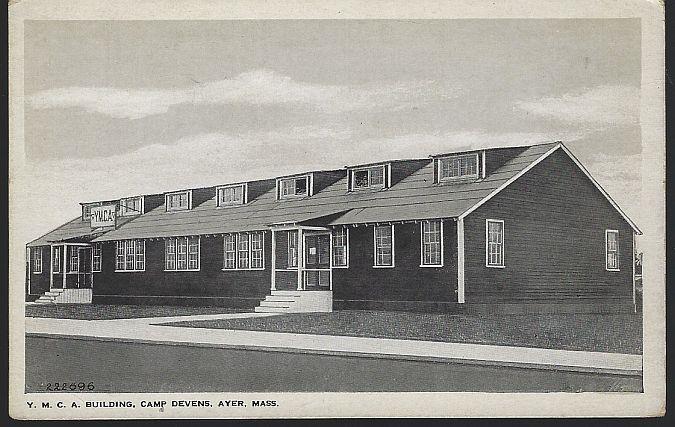 Y. M.C. A. BUILDING, CAMP DEVENS, AYER, MASSACHUSETTS, Postcard