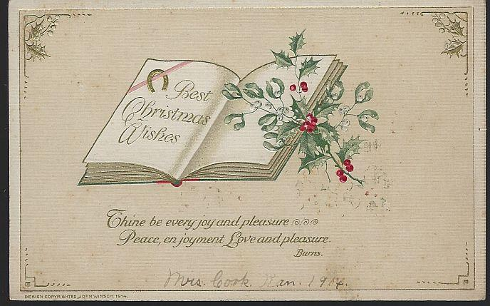 BEST CHRISTMAS WISHES POSTCARD WITH OPEN BOOK AND ROBERT BURNS QUOTE, Postcard