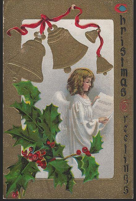 CHRISTMAS GREETINGS POSTCARD WITH ANGEL AND BELLS, Postcard