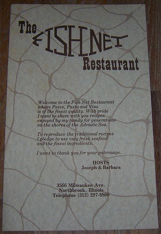 VINTAGE MENU FROM THE FISHNET RESTAURANT, NORTHBROOK, ILLINOIS, Menu