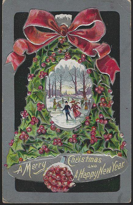 MERRY CHRISTMAS AND HAPPY NEW YEAR POSTCARD WITH HOLLY BELL AND ICE SKATERS, Postcard