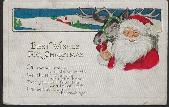 BEST WISHES FOR CHRISTMAS POSTCARD WITH SANTA CLAUS AND REINDEER, Postcard