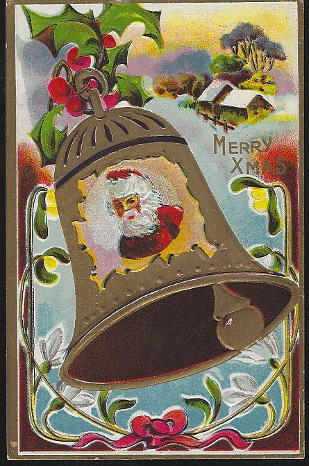 MERRY CHRISTMAS POSTCARD WITH SANTA CLAUS IN BELL, Postcard