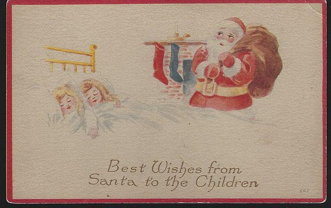 BEST WISHES CHRISTMAS POSTCARD FROM SANTA TO THE CHILDREN, Postcard