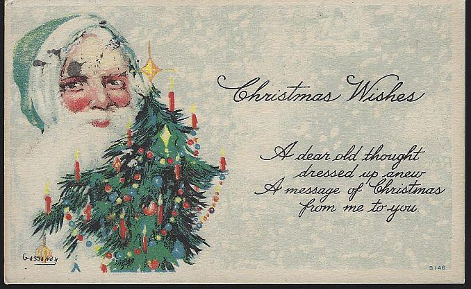 CHRISTMAS WISHES POSTCARD WITH GREEN SANTA CLAUS AND TREE, Postcard