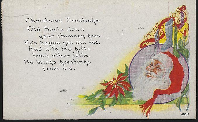 CHRISTMAS GREETINGS POSTCARD WITH SANTA CLAUS AND STOCKINGS, Postcard