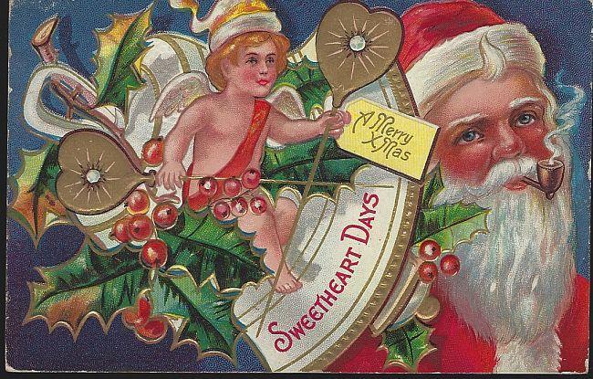 MERRY CHRISTMAS SWEETHEART DAYS POSTCARD WITH SANTA CLAUS AND CHERUB, Postcard