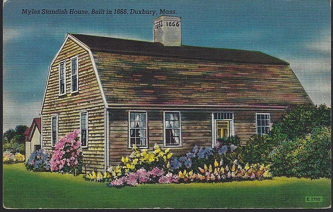 MYLES STANDISH HOUSE, DUXBURY, MASSACHUSETTS, Postcard