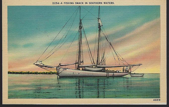 FISHING SMACK IN SOUTHERN WATERS, Postcard