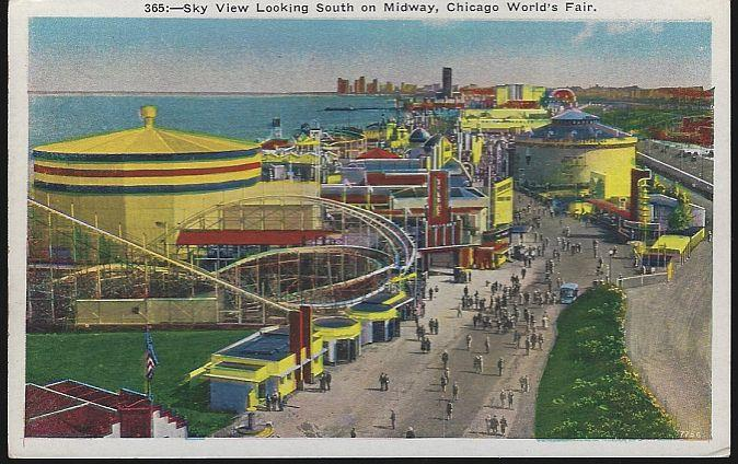 SKY VIEW LOOKING SOUTH ON MIDWAY, A CENTURY OF PROGRESS, INTERNATIONAL EXPOSITION 1933, CHICAGO, ILLINOIS, Postcard