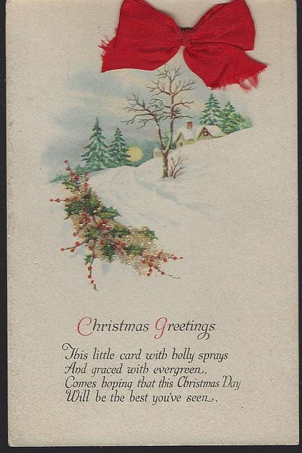 CHRISTMAS GREETINGS POSTCARD WITH RED CLOTH BOW AND GLITTER EVERGREEN, Postcard