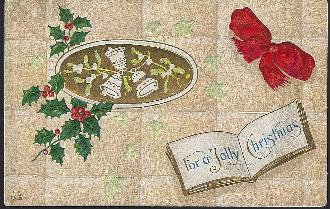 JOLLY CHRISTMAS POSTCARD WITH RED BOW AND BELLS, Postcard